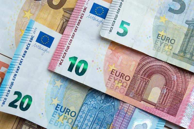 Euros em espécie - moeda da Irlanda