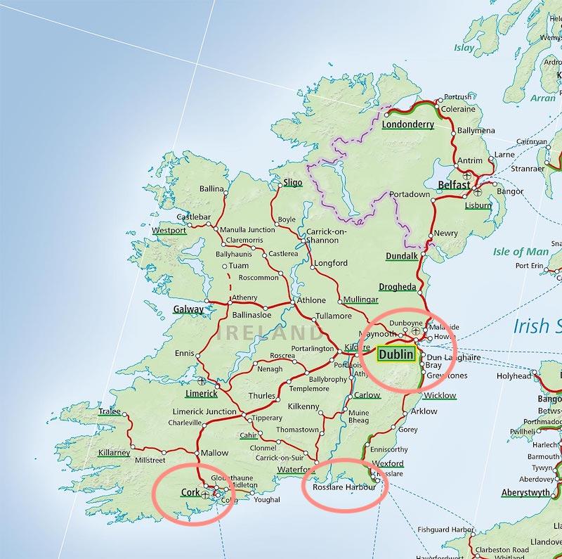 Mapa portos de ferry boat na Irlanda
