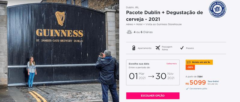 Pacote Hurb para Dublin + Degustação por R$ 5099