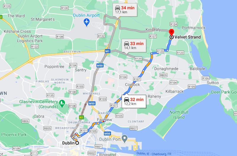 Distância de Dublin até Malahide Beach de carro