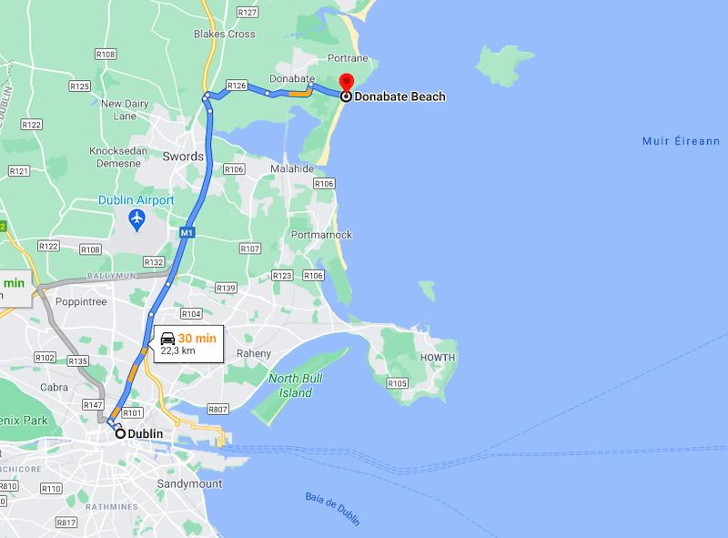 Distância entre Dublin e Praia Donabate Beach
