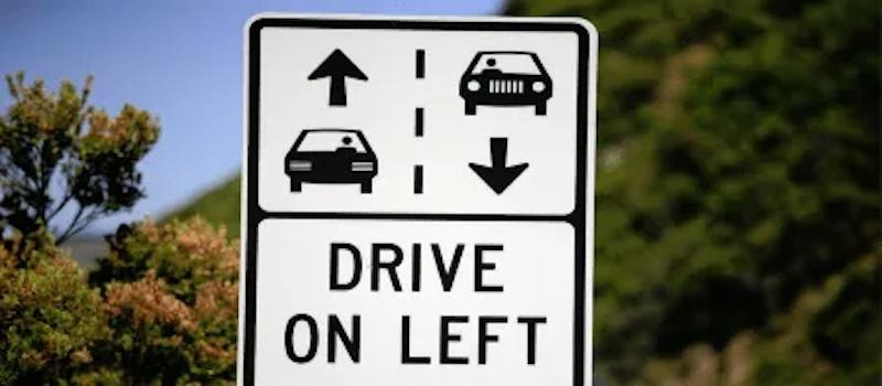 Placa: dirigir do lado esquerdo