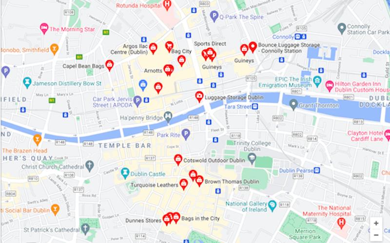 Mapa de lojas de malas de viagem em Dublin